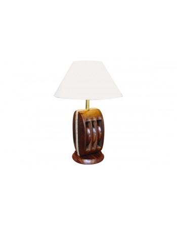 Lampe à poser poulie en bois petite taille