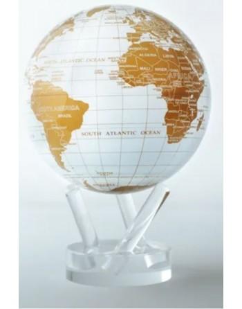Globe rotatif mova blanc et or