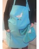Tablier de cuisine turquoise broderie goéland