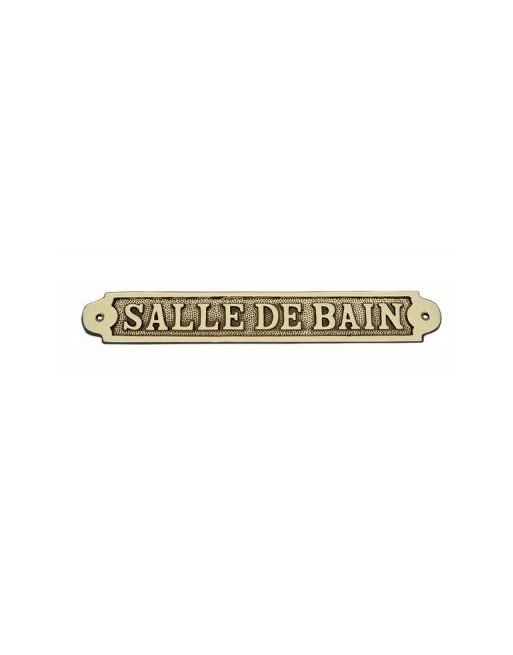 PLAQUE PORTE LAITON SALLE DE BAIN