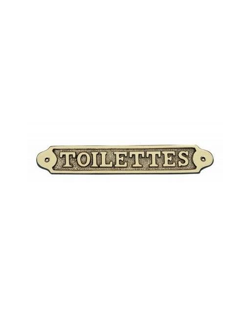 PLAQUE PORTE LAITON TOILETTES
