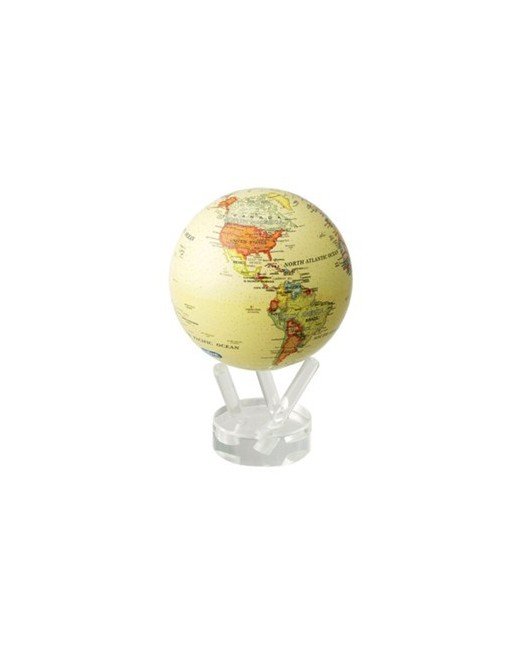 Globe terrestre en mouvement - fond jaune