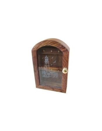Boite à clés bois décor phare