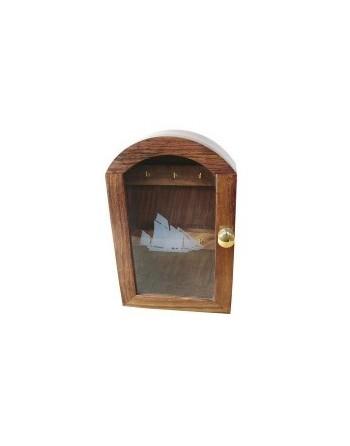 Boîte à clés bois décor voilier