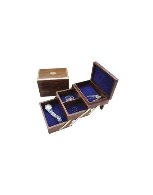 Coffret à bijoux en bois avec incrustation laiton