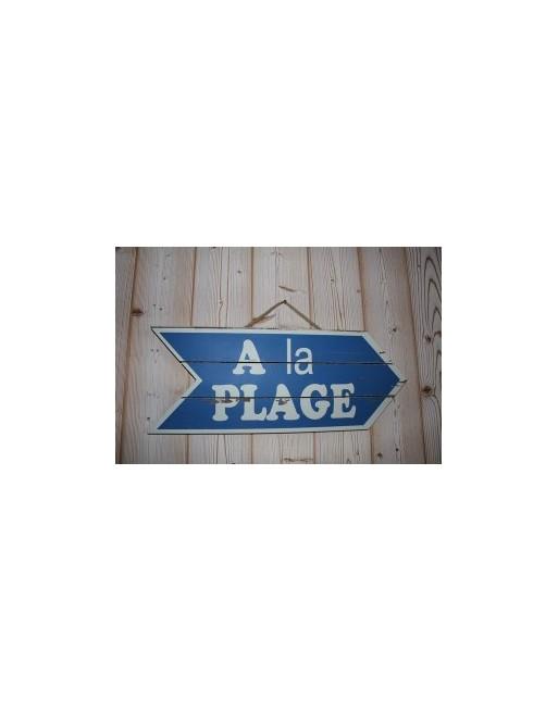 """Panneau bois flèche bleue """"à la plage"""""""
