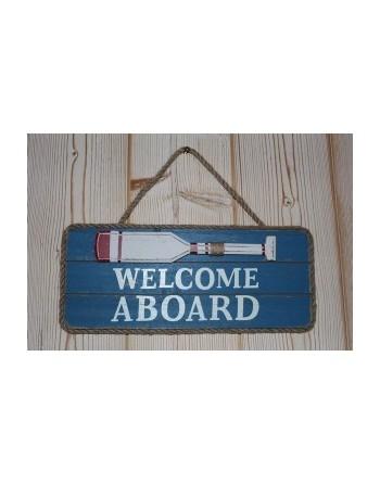 """Panneau bois """"welcome aboard"""""""