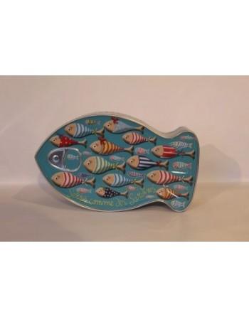 Boite poisson métallique serrés comme des sardines