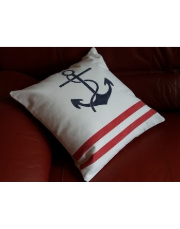 Coussin ancre marine et rayures rouges