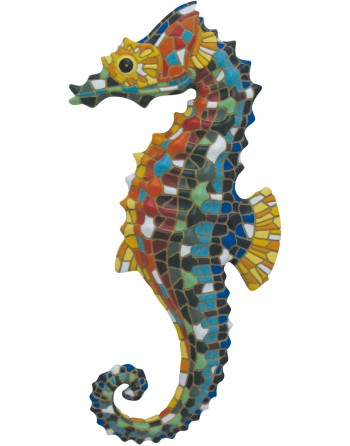 Hippocampe mosaïque mural