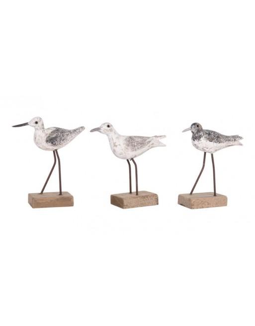 Petits oiseaux bois sur pattes métal