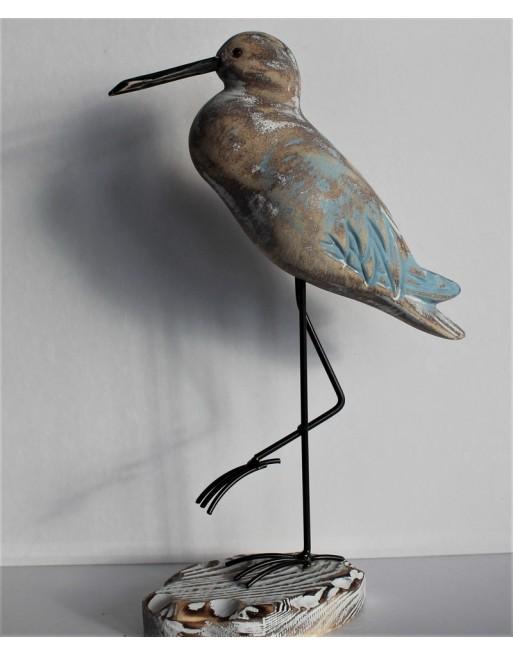 Oiseau bois sur pied métal